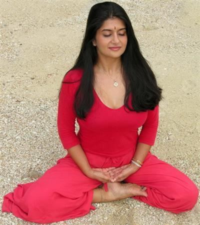 Indian Girl Yoga In Red